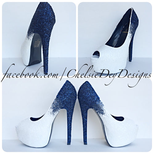 Glitter Peep Toe Pumps, Navy Blue Ombre Wedding Open Toe High Heels