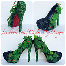 Poison Ivy Glitter High Heels, Green Ombre Platform Pumps