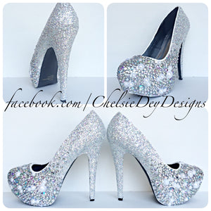 Pearl Glitter High Heels, Angel Silver White Ombre Wedding Shoes