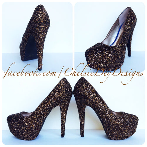 Brown Glitter High Heels, Chocolate Platform Prom Pumps