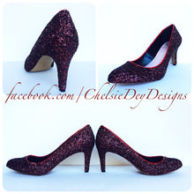 Burgundy Glitter High Heels, Low Red Prom Pumps
