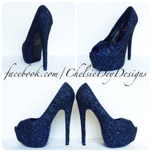 Navy Blue Peep Toe Glitter Pumps, Something Blue Wedding High Heels