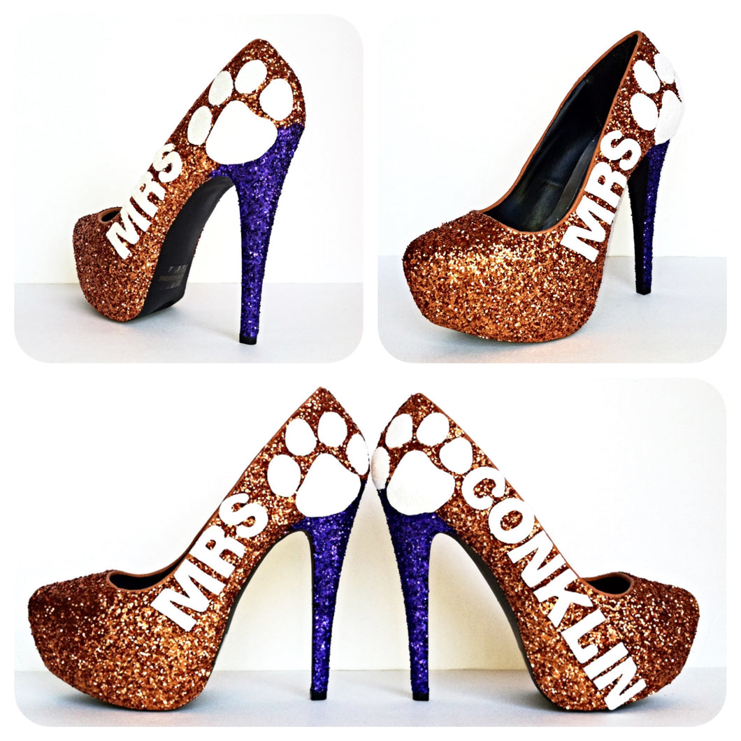 Orange Glitter High Heels, Purple Paw Print Platform Wedding Pumps