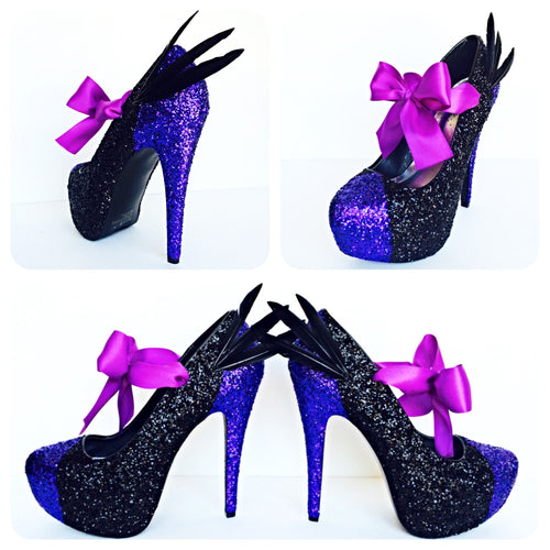 Maleficent Glitter Wedding High Heels, Purple Black Feather Platform Pumps