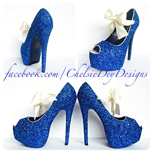 Blue Peep Toe Glitter Pumps, Something Blue Wedding High Heels with Ivory bows