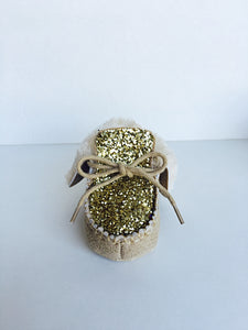 Gold Glitter Baby Booties, Brown Toddler Boots