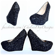 Black Wedge Glitter Pumps, Platform Wedding High Heels