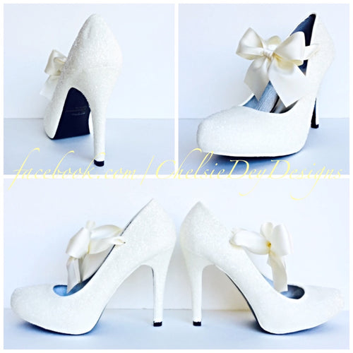 Glitter Wedding High Heels, Ivory Off White Platform Pumps