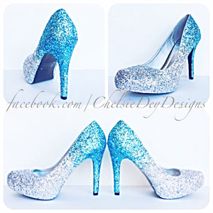 Aqua Ombre Glitter Platform Pumps, Something Blue Wedding Shoes