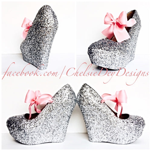 Silver Wedge Glitter Pumps, Wedding High Heels with Pink Bows