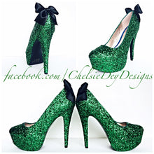 Green Glitter High Heels, Emerald Platform Prom Pumps