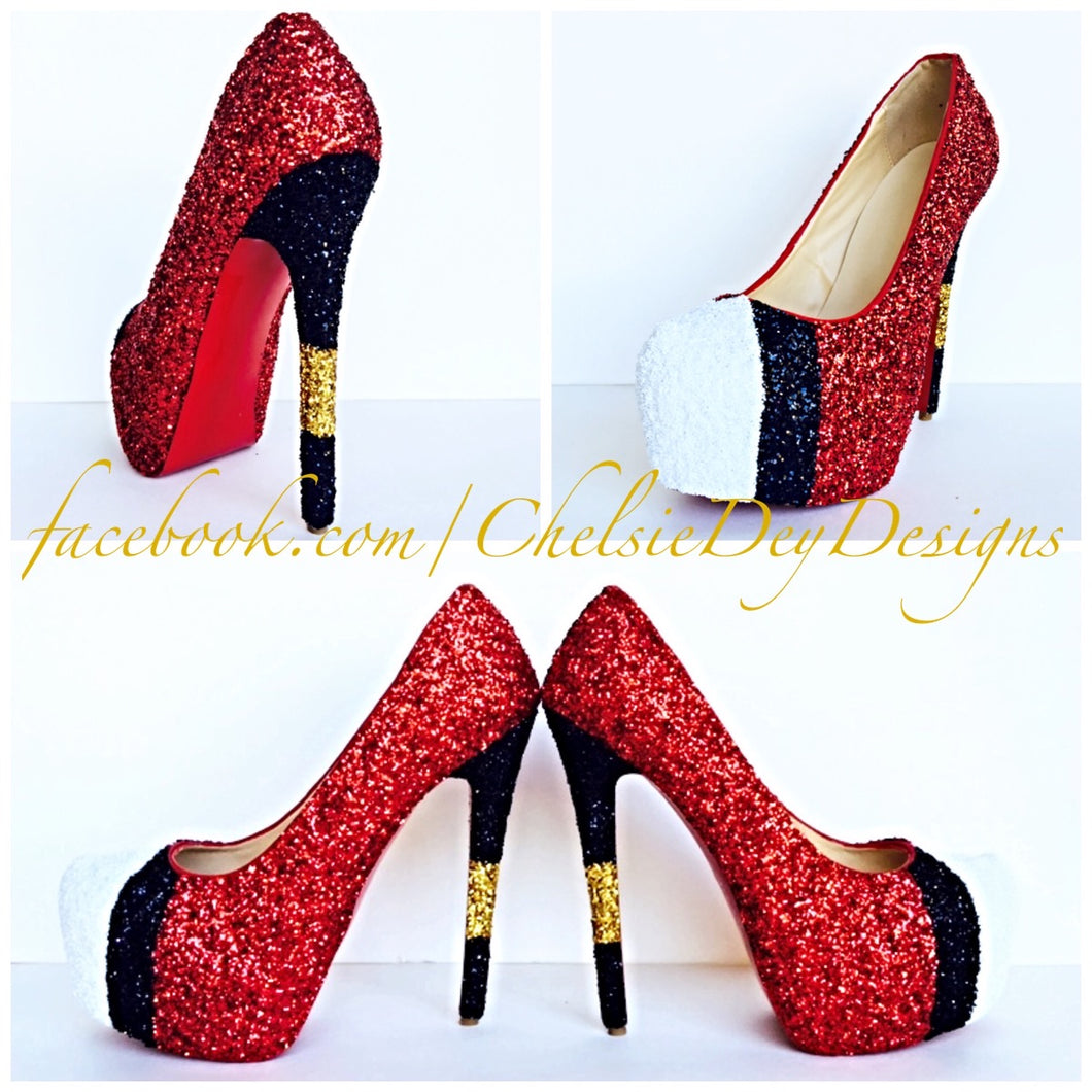Red Glitter High Heels, Football Themed Platform Pumps