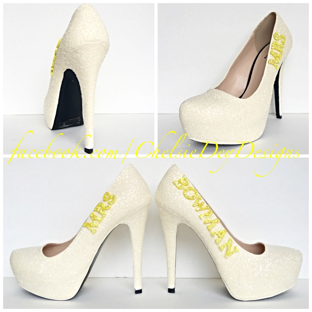 Wedding High Heels, Ivory Platform Pumps with New Last Name