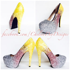 Ombre Glitter High Heels, Yellow Pink Silver Ombre Platform Prom Pumps
