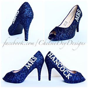 Blue Peep Toe Glitter Pumps, Something Blue Navy Wedding High Heels