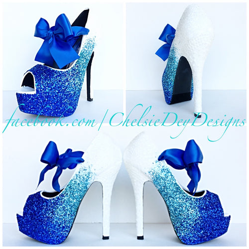 Glitter Peep Toe Pumps, Royal Blue Ombre Wedding Open Toe High Heels