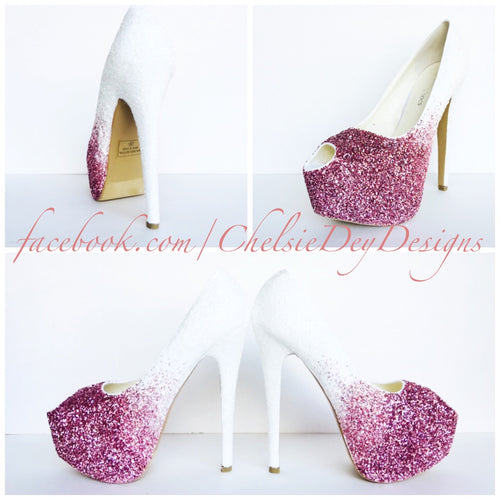 Pink Glitter Peep Toe Pumps, White Ombre Wedding Open Toe High Heels