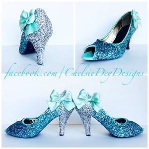 Glitter Peep Toe Pumps, Robins Egg Ombre Wedding Open Toe High Heels