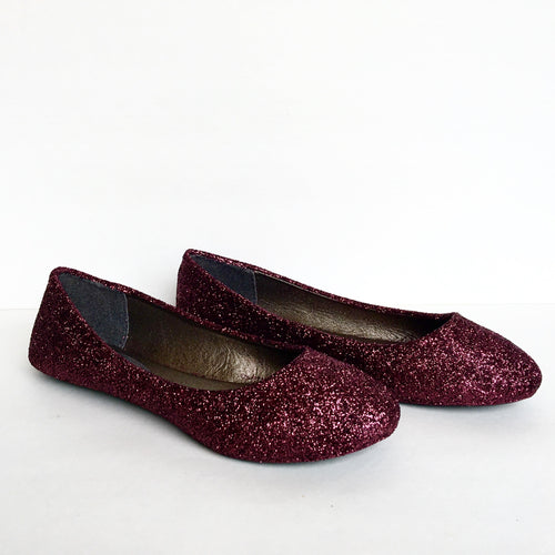 Burgundy Glitter Flats, Dark Red Ballet Shoes