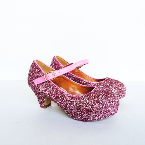 Pink Glitter Girls Heels, Flower Girl Shoes