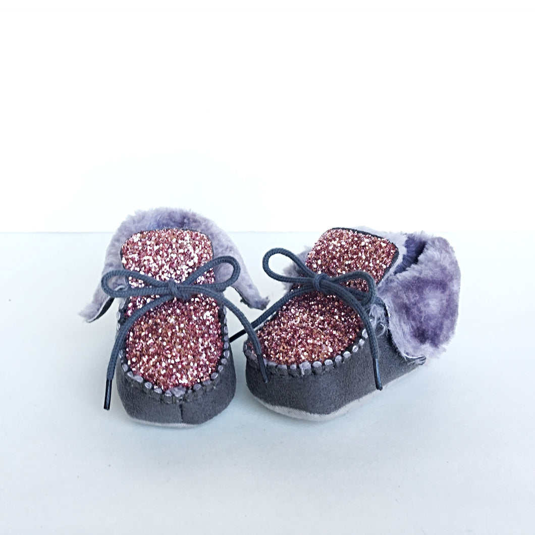 Pink Glitter Baby Booties, Gray Kids Boots