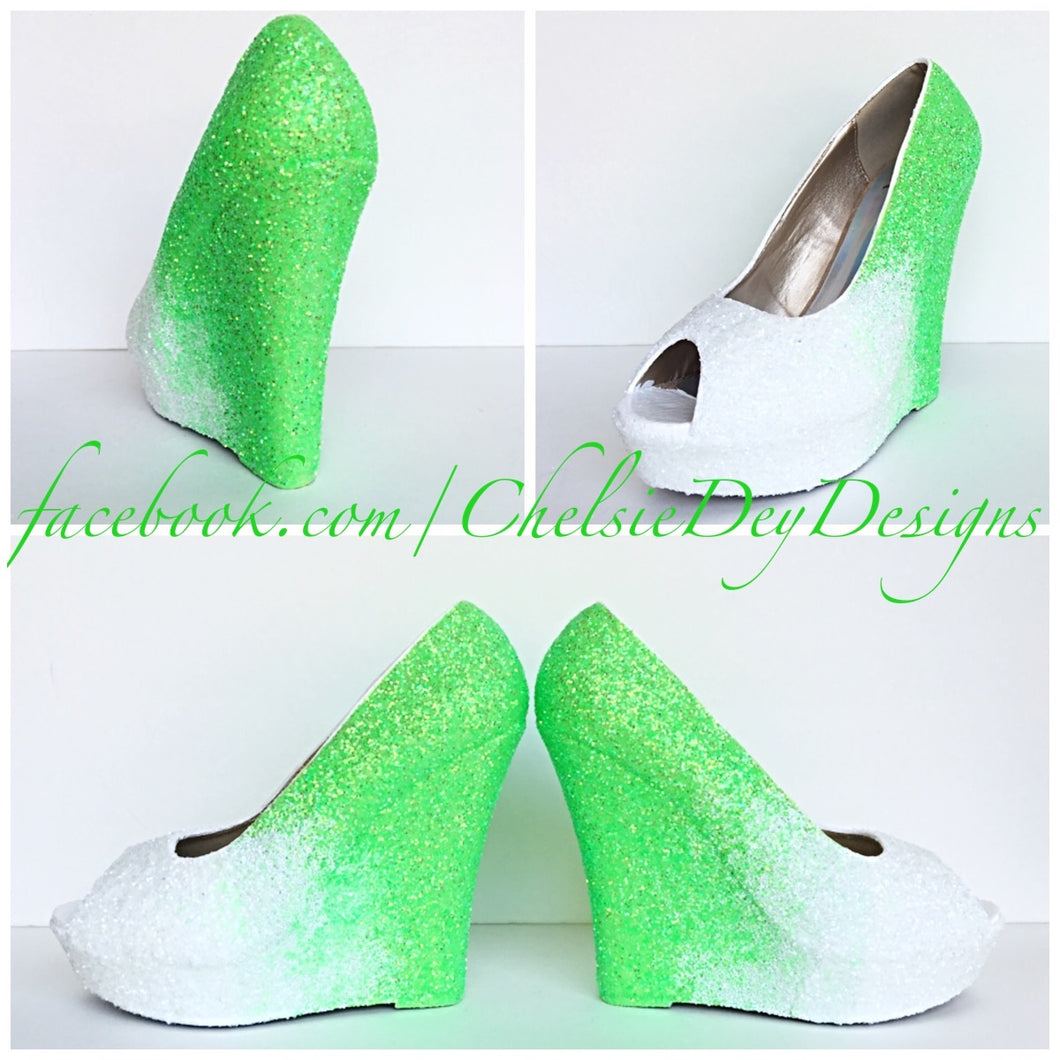 Neon Wedge Glitter Pumps, Lime Green Ombre Wedding Wedges