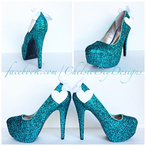 Teal Glitter High Heels, Heart Aqua Wedding Platform Pumps