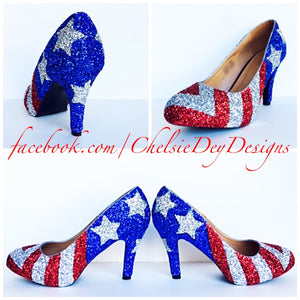 American Flag Stars and Stripes Custom Made Heels 3 Inch