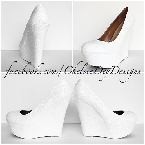 White Wedge Glitter Pumps, Wedding High Heels