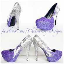 Wedding Glitter High Heels, Lilac Ombre Purple Platform Pumps with New Last Name