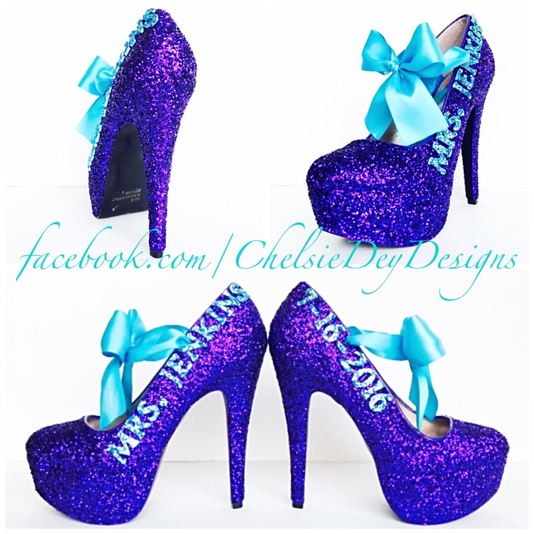 Glitter Wedding High Heels, Purple Aqua Platform Pumps with New Last Name