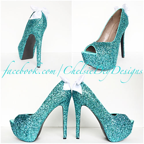 Glitter Peep Toe Pumps, Robins Egg Wedding Open Toe High Heels