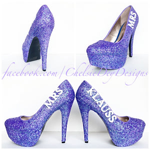 Wedding Glitter High Heels, Lilac Purple Platform Pumps with New Last Name