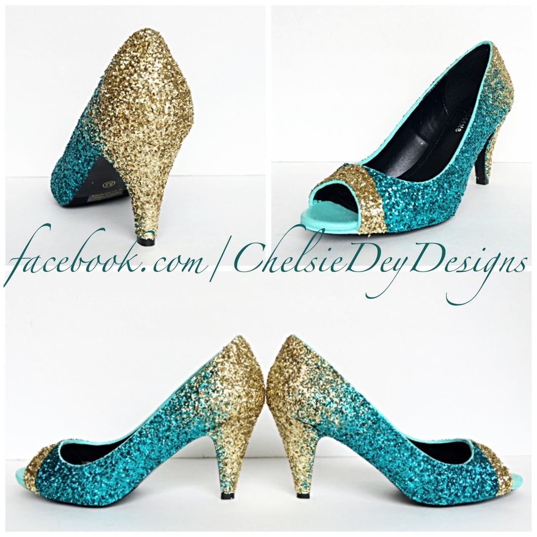 Glitter Peep Toe Pumps, Teal Gold Ombre Wedding Open Toe High Heels