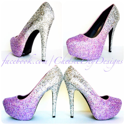 Wedding Glitter High Heels, Lilac Lavender Silver Ombre Purple Platform Pumps