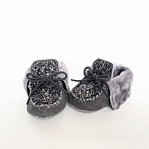 Silver Glitter Baby Booties, Gray Toddler Boots