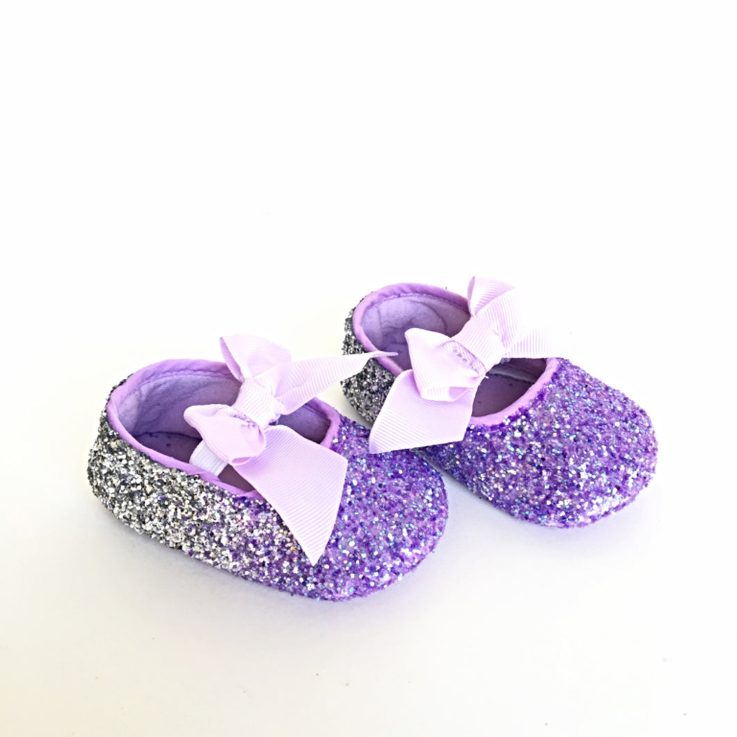 Lilac Glitter Baby Shoes, Silver Ombre Flower Girl Shoes