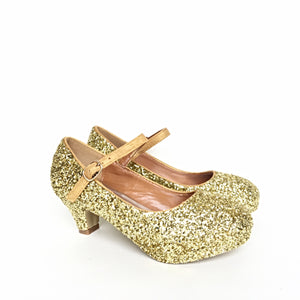 Gold Glitter Girls Heels, Flower Girl Shoes