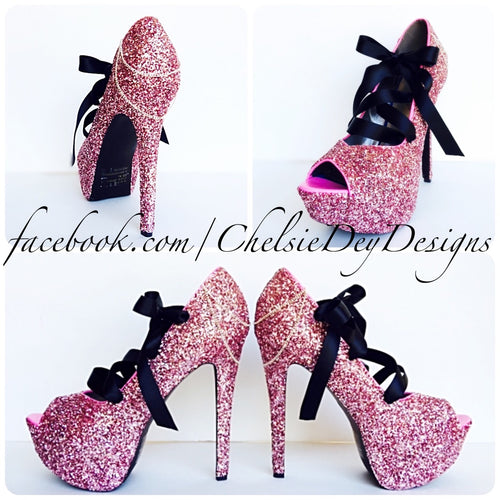 Pink Peep Toe Glitter Pumps, Pale Pink Open Toe Wedding High Heels with Corset Ribbon
