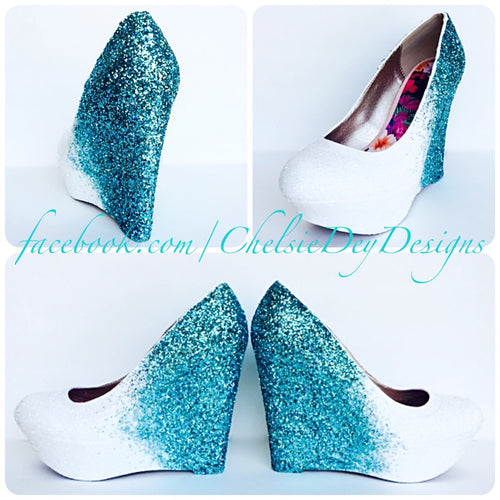 Aqua Wedge Glitter Pumps, Robins Egg Ombre Wedding High Heels