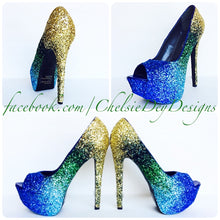 Glitter Peep Toe Pumps, Something Blue Ombre Wedding High Heels