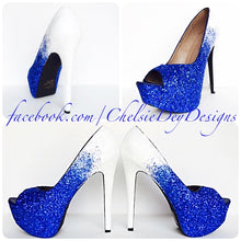 Glitter Peep Toe Pumps - Something Blue Ombre Wedding Open Toe High Heels