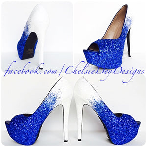 Glitter Peep Toe Pumps, Something Blue Ombre Wedding Open Toe High Heel