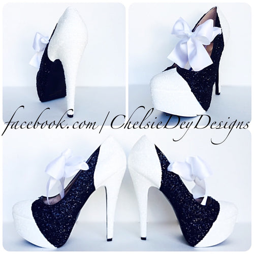 Black Glitter Platform Pumps, White Tuxedo Prom High Heels