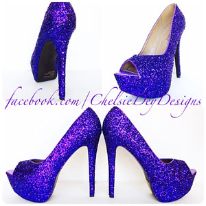 Purple Peep Toe Glitter Pumps, Violet Wedding High Heels