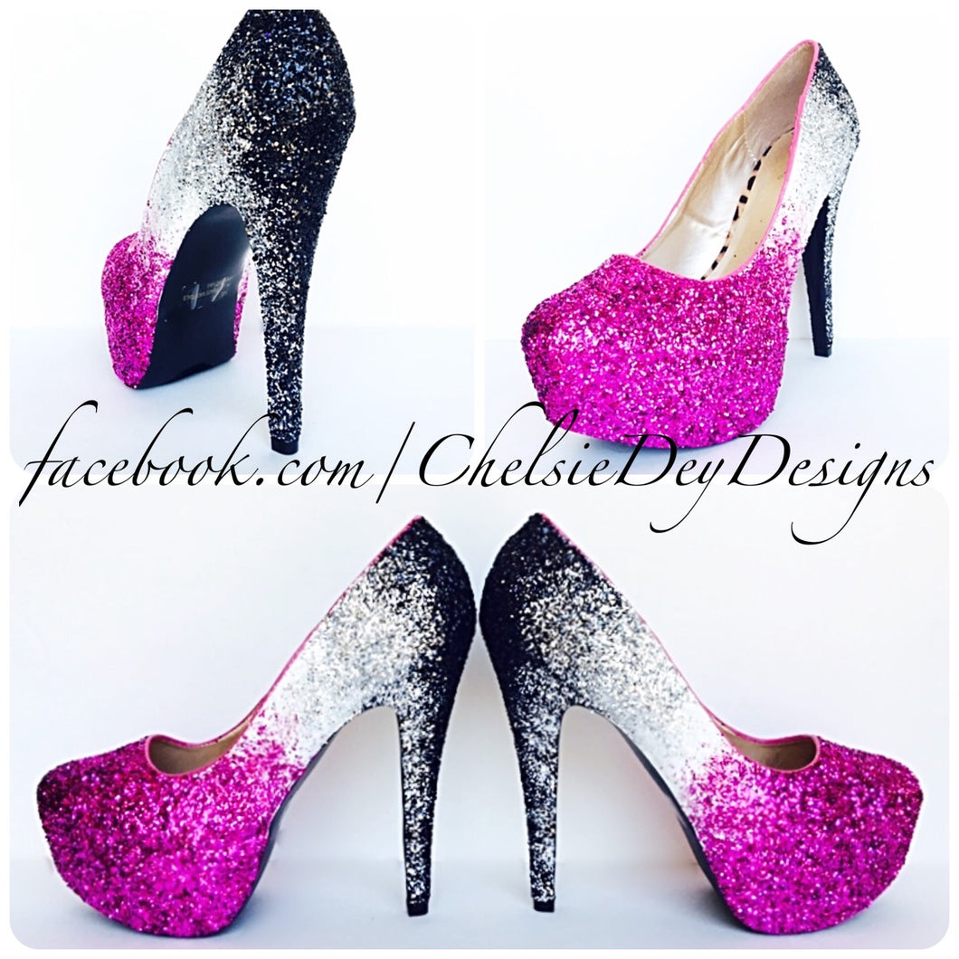 Pink Ombre Glitter Platform Pumps, Hot Pink White High Heels