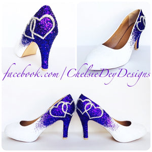Purple Glitter High Heels, White Wedding Shoes with Silver Hearts