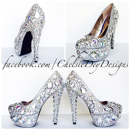 Rhinestone High Heels, Silver Crystal Wedding Shoes, Geometric Jewel Pumps