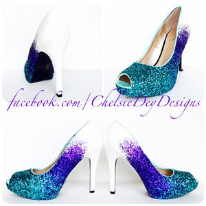 Glitter Peep Toe Pumps, Something Blue Ombre Wedding High Heels, Teal Prom Shoes