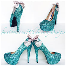 Robins Egg Glitter High Heels, Heart Aqua Tiffany Wedding Platform Pumps